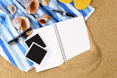 Photo album summer beach background blank polaroid frames copy space. Photo album beach background blank polaroid frame photo print Royalty Free Stock Photography