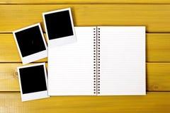 Photo album polaroid frame photo prints blank copy space Royalty Free Stock Photo