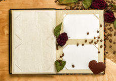 Photo album and dry red roses on coffee seed Stock Image