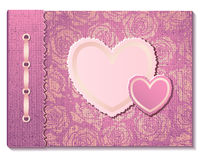 Photo album with hearts Stock Image