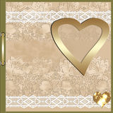 Photo album on lace beige background. With heart Royalty Free Stock Photography