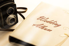 Photo album with old camera Royalty Free Stock Image