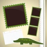 Photo album page with crocodile. Photo album page with cute cartoon crocodile Stock Photography
