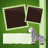 Photo album page with zebra Stock Photography