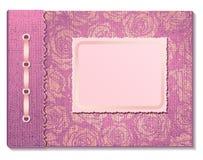 Photo album pink. Pink fabric сover a photo album  on white background Stock Photos