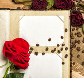 Photo album and red roses on coffee seeds Royalty Free Stock Image