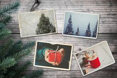 Photo album in remembrance and nostalgia in Christmas winter season on wood table. Stock Photo