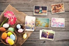 Photo album in remembrance and nostalgia of Happy easter day. On wood table backgroud. Holiday in spring season. vintage and retro style, top view stock photography