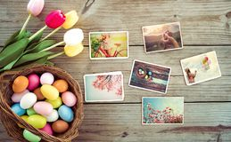 Happy easter day on wood table  backgroud. Royalty Free Stock Images