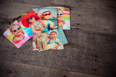 Photo album remembrance and nostalgia in summer journey trip on. Wood table Royalty Free Stock Image
