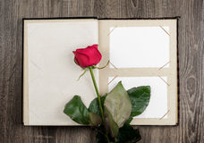 Photo album and roses on wood background Stock Photo