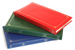 Photo albums. Three photo albums - the top one can be written on Stock Photography