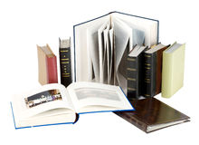 Photo albums. Stack of photo albums isolated on white. With clipping path Stock Photos