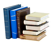 Photo albums. Stack of photo albums isolated on white. With clipping path Stock Photo