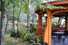 Photo of alcove in the park near the lake.  Royalty Free Stock Photos
