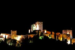 Alhambra night photo royalty free stock photo