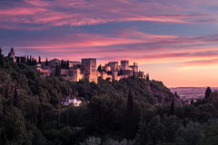 Photo of Alhambra in Granada, Spain. Beautiful sunset view of Spain`s main tourist attraction, ancient arabic fortress of Alhambra, Granada, Spain royalty free stock images
