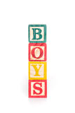 Photo of a alphabet blocks spelling BOYS isolate on white background Royalty Free Stock Images