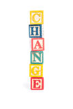 Photo of a alphabet blocks spelling CHANGE isolate on white background Stock Images