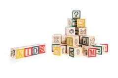 Photo of a alphabet blocks spelling kids isolate on white backgr Royalty Free Stock Images