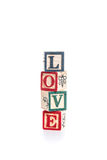 Photo of a alphabet blocks spelling LOVE isolate on white backgr Royalty Free Stock Photography