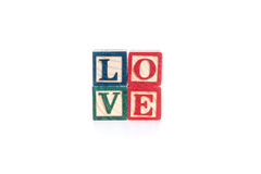 Photo of a alphabet blocks spelling LOVE isolate on white background Stock Photos