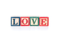 Photo of a alphabet blocks spelling LOVE isolate on white background Stock Image
