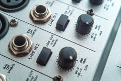 Photo of the analog audio mixer stock photo