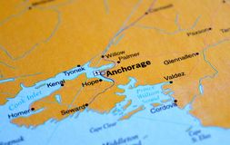 A photo of Anchorage on a map royalty free stock photos
