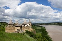Photo of ancient Khotyn fortess, castle in Ukraine at the day time in summer.  stock photography
