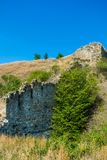 Photo of ancient stone collapsed castle wall in Khotym. Photo of old ancient stone collapsed castle wall in Khotyn stock photography