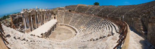 Photo of ancient theatre in the city Hierapolis Stock Image