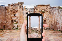 Photo of ancient town Gerasa and modern Jerash Stock Photography