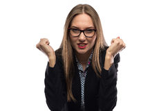 Photo of angry business woman with fists Royalty Free Stock Image