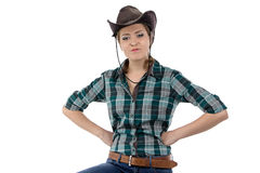 Photo of angry cowgirl Royalty Free Stock Photos