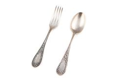Photo of antiquarian silver fork and spoon Stock Image