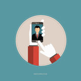Photo application concept. Hands holding the smart phone and taking picture. Selfie concept. Flat  illustration Royalty Free Stock Image