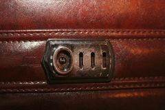 A photo with an approximation to a brown leather business briefcase royalty free stock photos