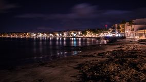 Photo of Arinaga beach on Gran Canaria island, Spain. Night image of Arinaga beach on Gran Canaria island, Spain Stock Image