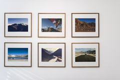 Photo art gallery on the wall royalty free stock photo