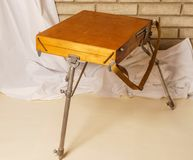 Photo of Artist tool box. Painter`s case with portable easel. Th Royalty Free Stock Photography