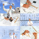 Photo assortment in designing technollogy Royalty Free Stock Images