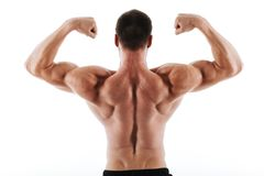 Photo of athletic young man showing his back and biceps muscles. Isolated over white background stock photography