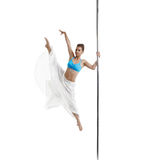 Photo of attractive girl dancing on pole Stock Photos