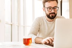 Photo of attractive unshaved man wearing eyeglasses drinking tea. From glass while working or browsing internet on laptop in office Royalty Free Stock Photography