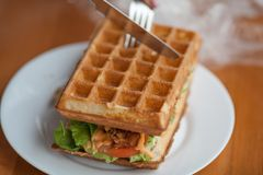 Belgian waffle with meat and herbs is cutted by a knife royalty free stock image