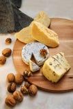 Photo avec du fromage et des noix de plat Image stock