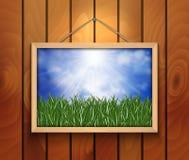 Photo avec l'herbe verte, le ciel et le nuage Photo libre de droits