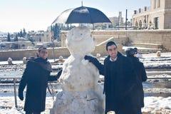 Photo avec le bonhomme de neige Images stock