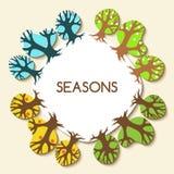 Photo avec quatre saisons Tre d'hiver, de printemps, d'été et d'automne illustration de vecteur